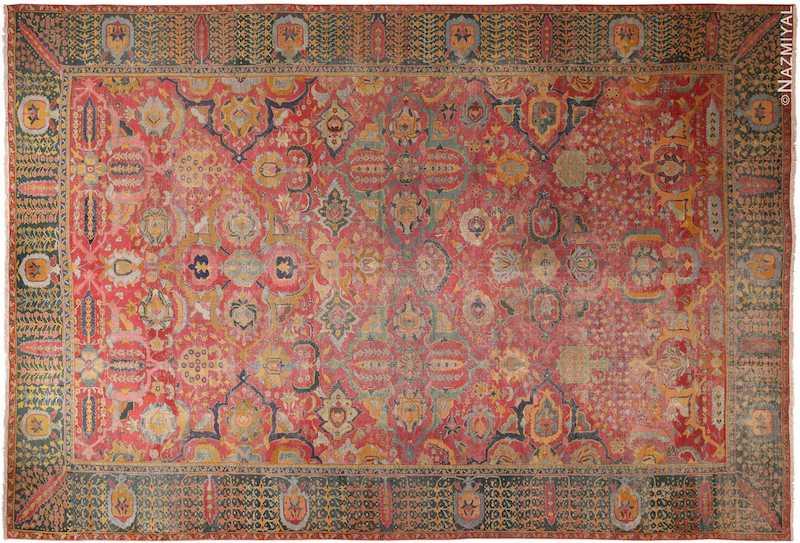 17th Century Antique Persian Isfahan rug Nazmiyal
