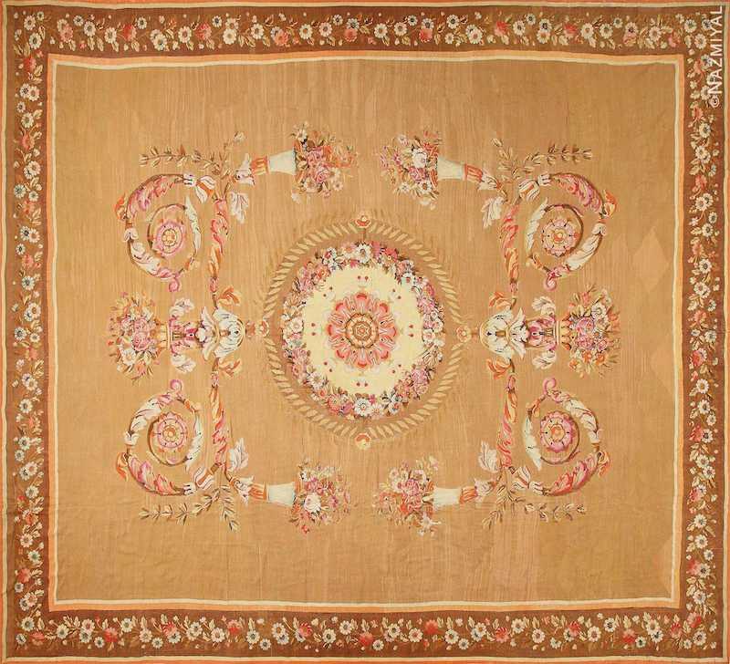 Large Antique French Aubusson Carpet Nazmiyal