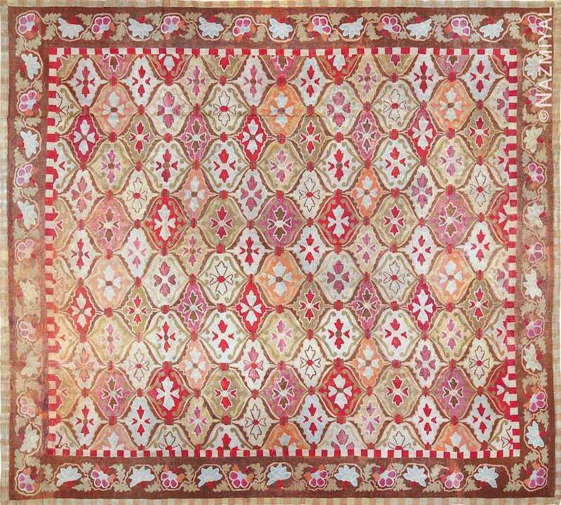 Antique Square French Aubusson Rug Nazmiyal