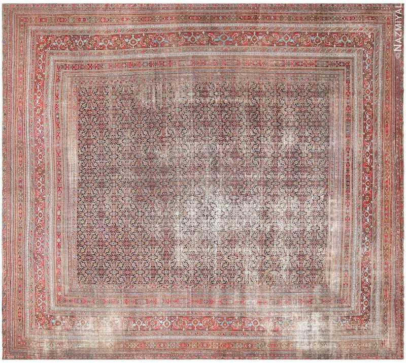 Antique Shabby Chic Persian Khorassan Carpet Nazmiyal