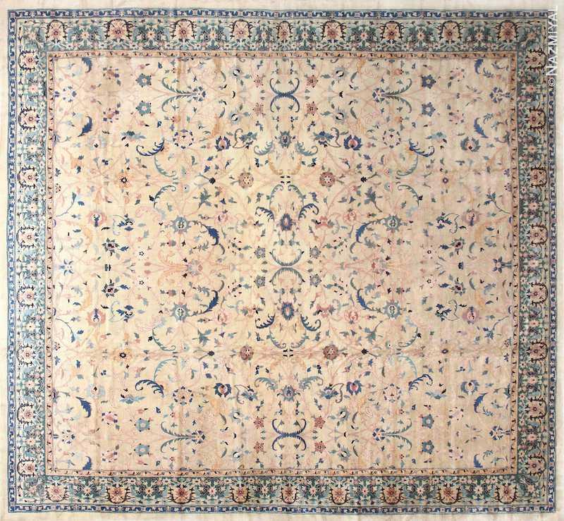 Large Square Antique Indian Agra Rug Nazmiyal