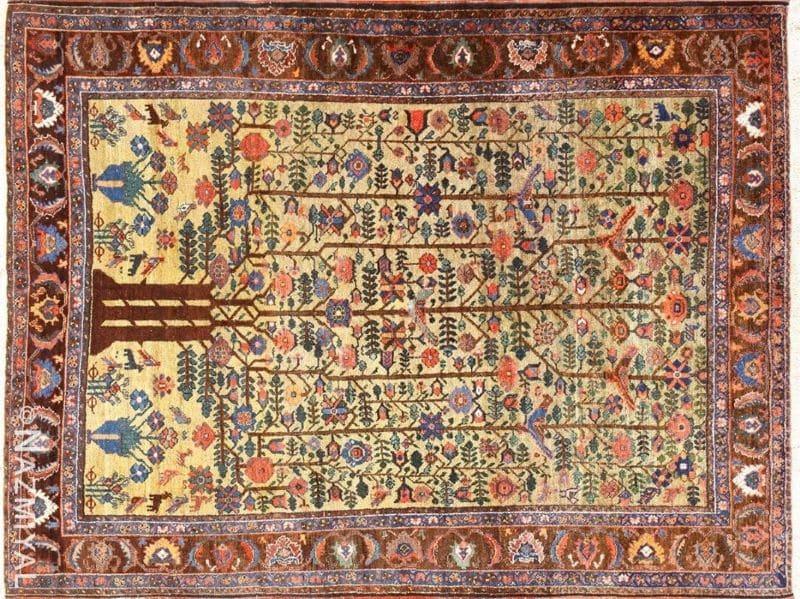 Artistic Small Antique Tabriz Persian Tree of Life Design Rug Nazmiyal