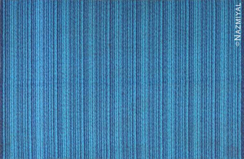 Vintage Double Sided Blue Swedish Kilim Rug Nazmiyal