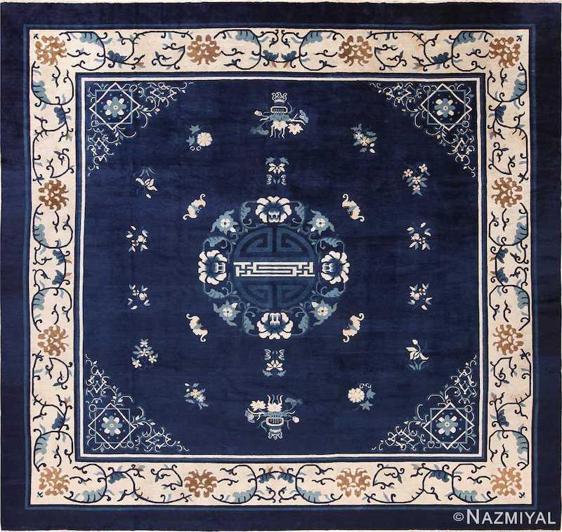 Antique Chinese Blue Square Room Size Rug Nazmiyal