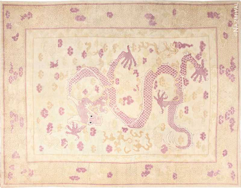 Funky Antique Purple Chinese Dragon Design Rug Nazmiyal