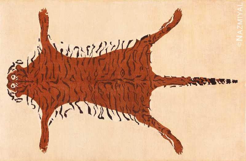 Vintage Indian Tiger Design Rug Nazmiyal