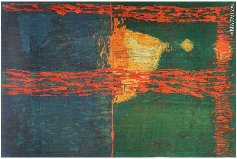 Night Mirror by Brita Molin Vintage Scandinavian Carpet Nazmiyal