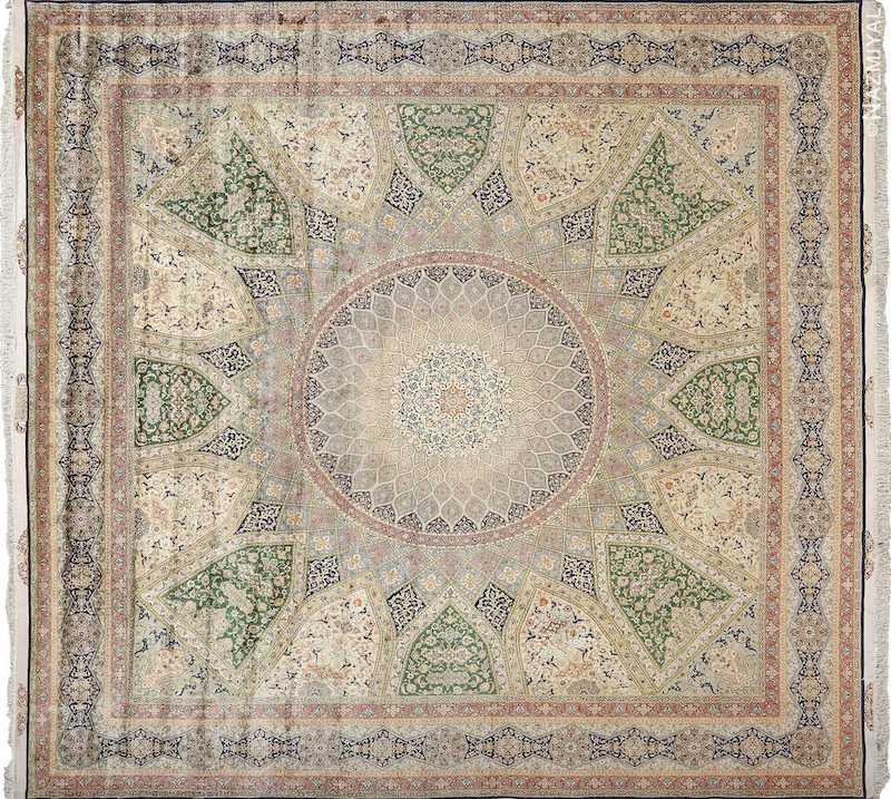 Fine Square Vintage Silk Tabriz Persian Rug Nazmiyal