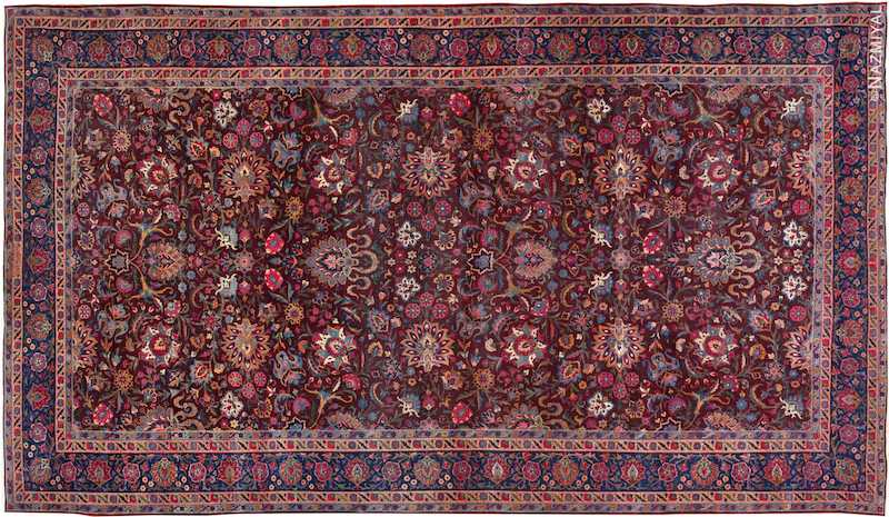 Aubergine Antique Persian Kerman Rug Nazmiyal