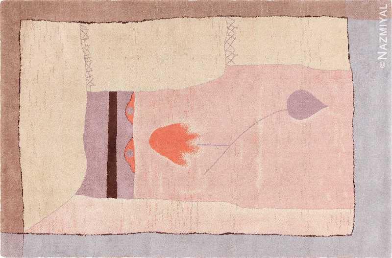 Vintage Scandinavian Ege Art Line Paul Klee Arab Song Rug Nazmiyal