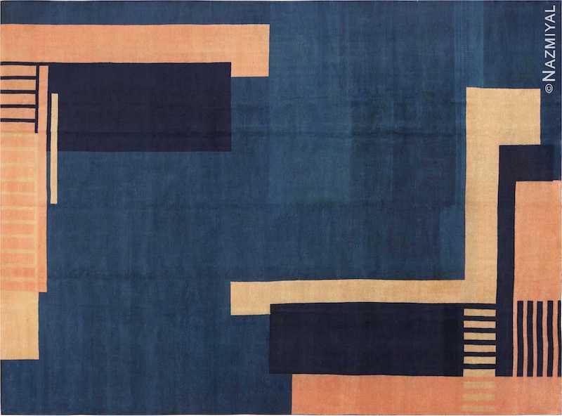 Blue Antique Indian Art Deco Rug Nazmiyal