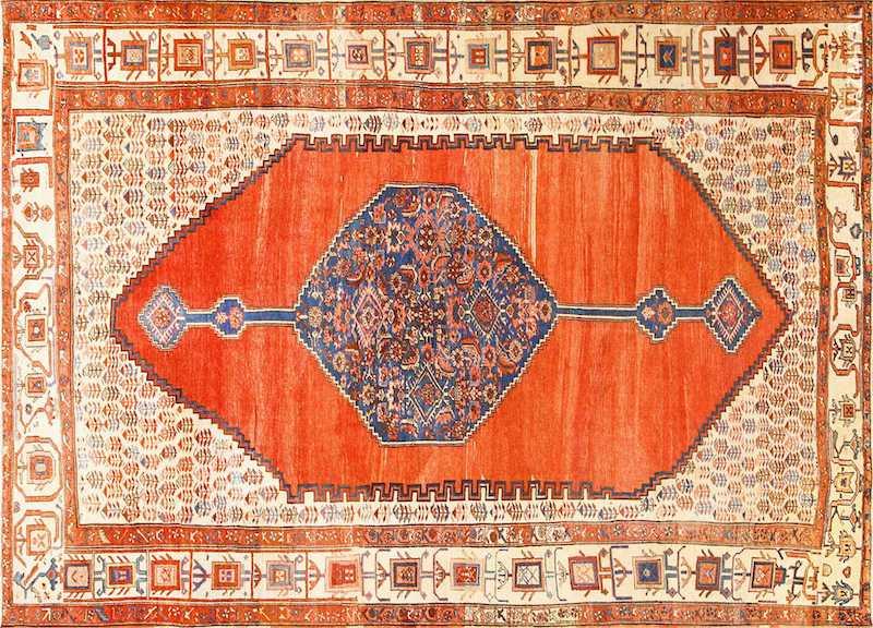 Room Size Antique Medallion Persian Serapi Bakshaish Rug Nazmiyal