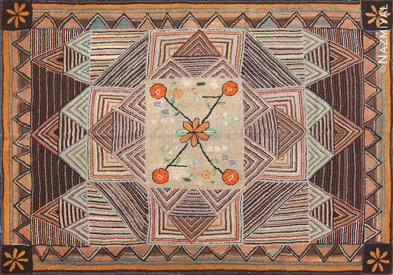 Antique American Hooked Rug Nazmiyal