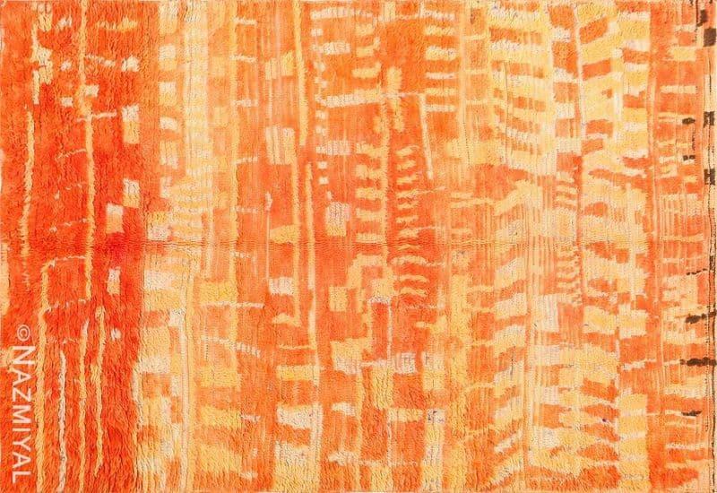 Burnt Orange Shaggy Vintage Moroccan Berber Rug Nazmiyal
