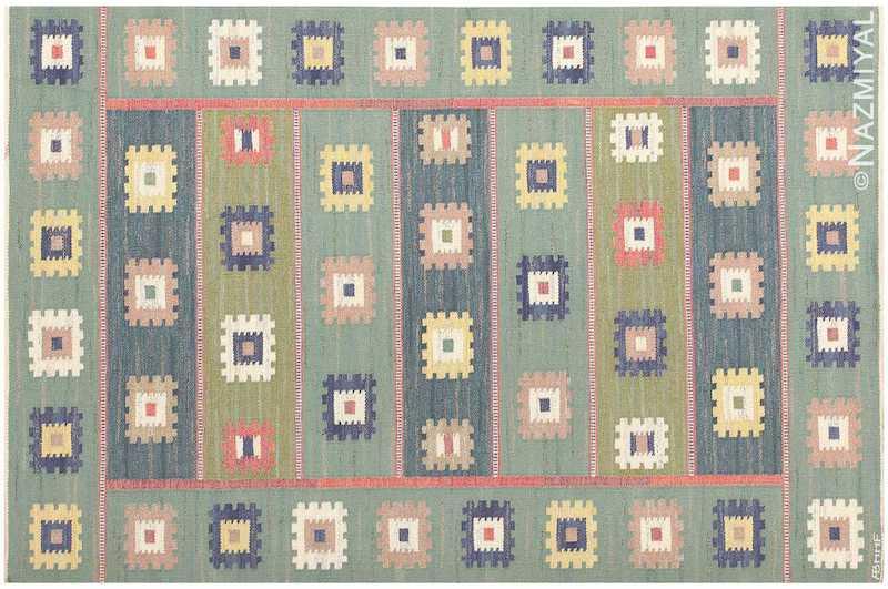 Vintage Swedish Marta Maas Fjetterstrom Gron Ang Carpet Nazmiyal