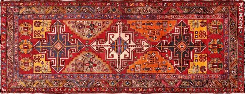 Red Geometric Vintage Persian Heriz Runner Rug Nazmiyal