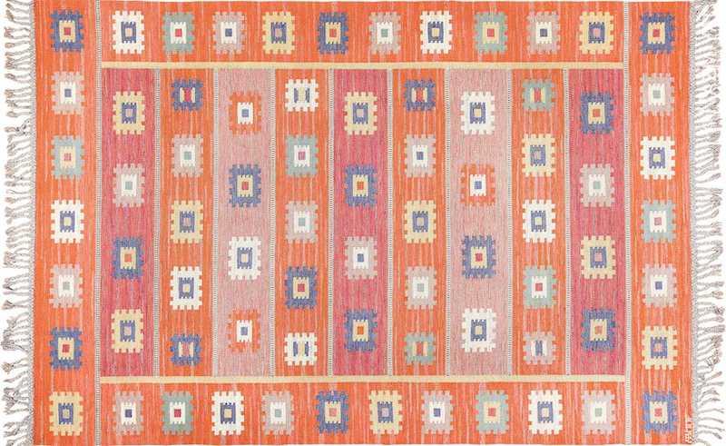 Vintage Flat Woven Scandinavian Marta Maas Kilim Rug Nazmiyal