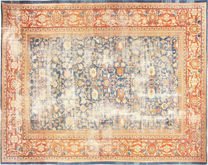 Large Light Blue Shabby Chic Antique Sultanabad Rug Nazmiyal