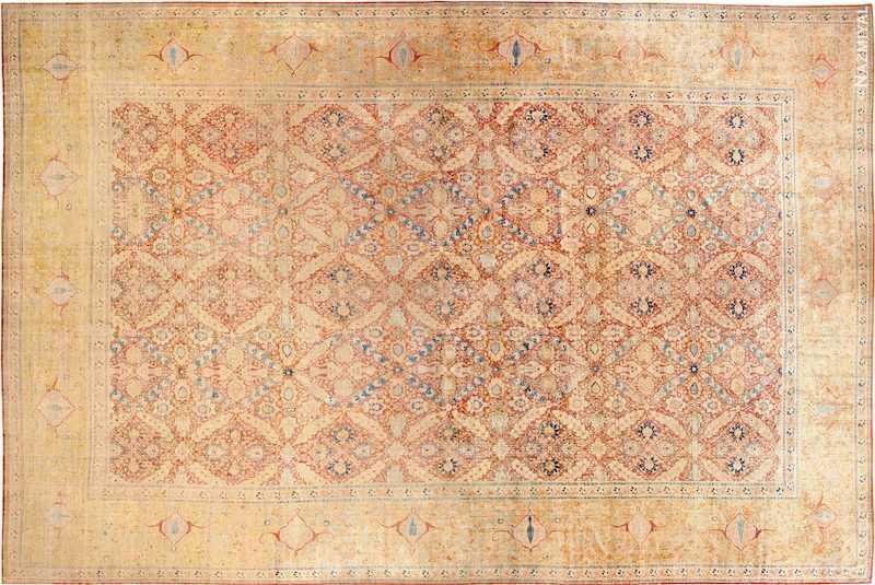 Oversized Antique Persian Silk Tabriz Haji Jalili Rug Nazmiyal