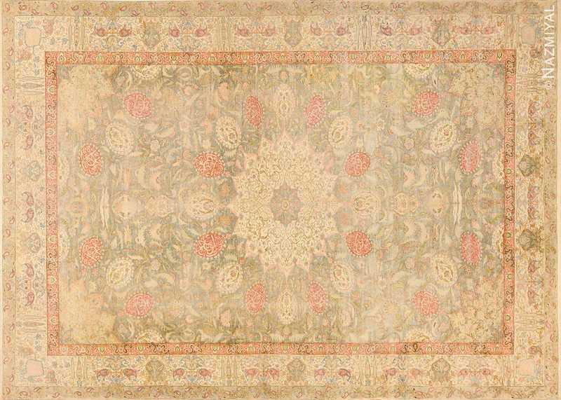 Antique Silk Turkish Kayseri Shabby Chic Rug Nazmiyal